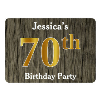 Rustic, Faux Gold 70th Birthday Party; Custom Name Card