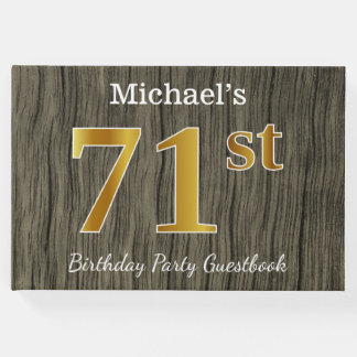 Rustic, Faux Gold 71st Birthday Party; Custom Name Guest Book