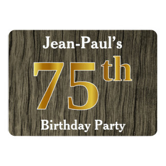 Rustic, Faux Gold 75th Birthday Party; Custom Name Card