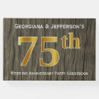 Rustic, Faux Gold 75th Wedding Anniversary Party Guest Book