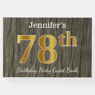 Rustic, Faux Gold 78th Birthday Party; Custom Name Guest Book