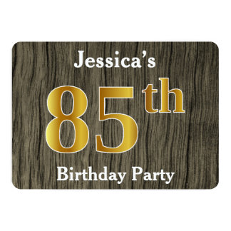 Rustic, Faux Gold 85th Birthday Party; Custom Name Card