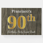 Rustic, Faux Gold 90th Birthday Party; Custom Name Guest Book
