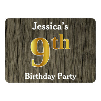 Rustic, Faux Gold 9th Birthday Party; Custom Name Card