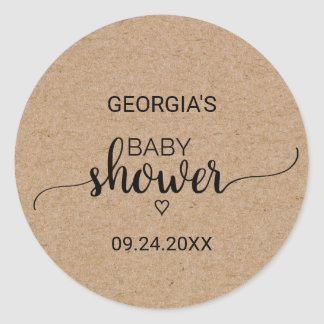 Rustic Faux Kraft Calligraphy Baby Shower Classic Round Sticker