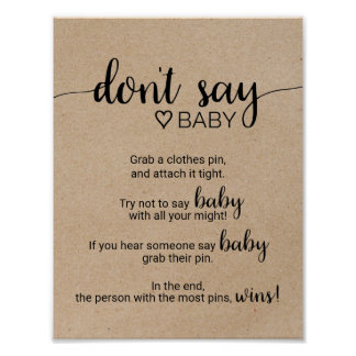 Rustic Faux Kraft Calligraphy Don't Say Baby Sign