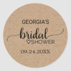 Rustic Faux Kraft Modern Calligraphy Bridal Shower Classic Round Sticker