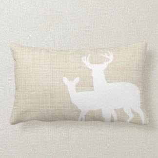 Rustic Faux Linen Male Female Deer Lumbar Pillow