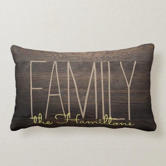 Rustic FAUX WOOD Chic Family Monogram YELLOW Lumbar Pillow