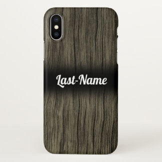 Rustic Faux Wood Look Pattern w/ Custom Name iPhone X Case