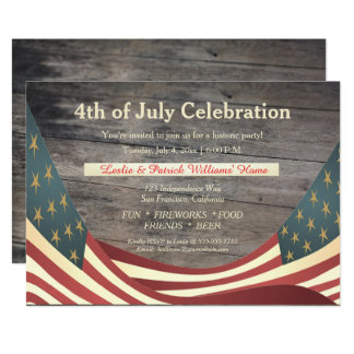 Rustic Faux Wood | Vintage Flags 4th of July Party Card