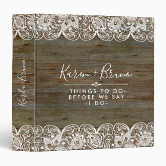 Rustic Faux Wood & White Wedding Lace Binder