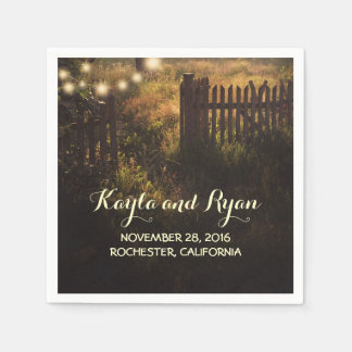 rustic fence and string lights country wedding disposable napkin