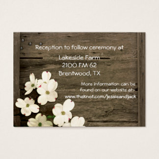 Rustic Fence & Dogwood Blooms Wedding Enclosure Business Card