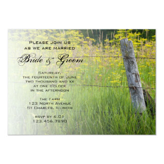 Rustic Fence Post Country Wedding Invitation