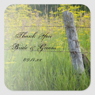 Rustic Fence Post Country Wedding Thank You Square Sticker