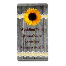 Rustic Fence & Sunflower Mini Wine Labels