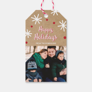 Rustic Festive Multi Photo Holiday Gift Tag