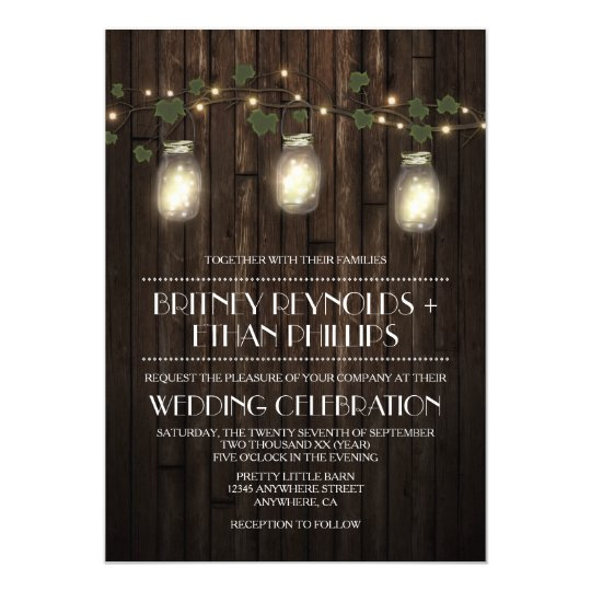 Rustic Firefly + Vine Vineyard Wedding Invitations