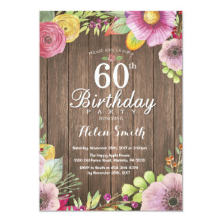 Rustic Floral 60th Birthday Invitation for Women