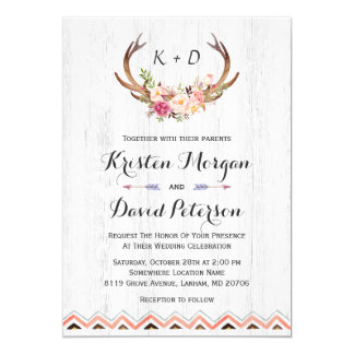 "Rustic Floral Antler White Wood Boho Decor Wedding 5"" X 7"" Invitation Card"