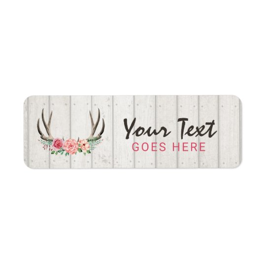 Rustic Floral Antlers Shabby Chic Roses & Wood