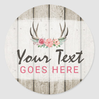 Rustic Floral Antlers Shabby Chic Roses & Wood Classic Round Sticker