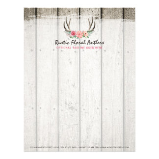 Rustic Floral Antlers Shabby Chic Roses & Wood Letterhead Template