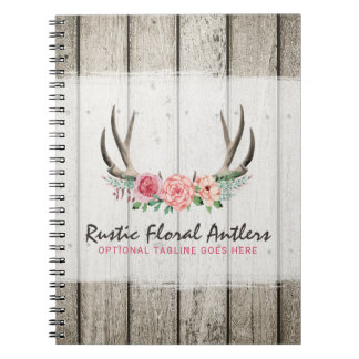 Rustic Floral Antlers Shabby Chic Roses & Wood Spiral Notebooks