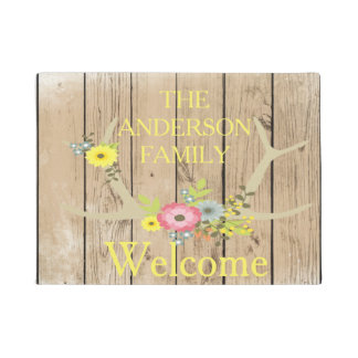 Rustic Floral Antlers Wood personalized Door Mat