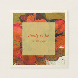 Rustic floral autumn fall colours wedding disposable napkin