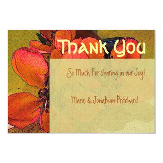 "Rustic floral autumn fall Thank You wedding 3.5"" X 5"" Invitation Card"