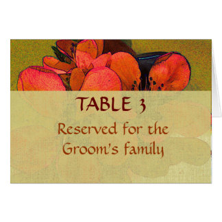 Rustic floral autumn wedding place seating chart note card