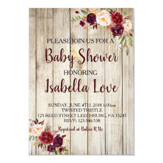Rustic Floral Baby Shower Invite