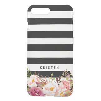 Rustic Floral Black White Stripes iPhone 8 Plus/7 Plus Case