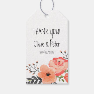 Rustic Floral Blush Wedding Favour Thank You Tag