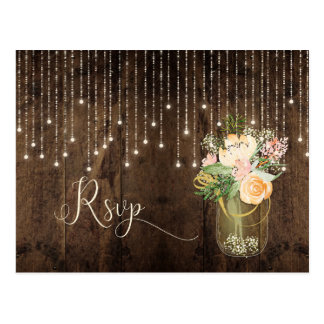 Rustic Floral Bouquet Mason Jar Lights RSVP | Postcard