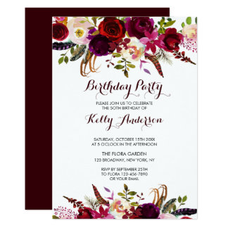 Rustic Floral Burgundy Birthday Party Invitation