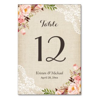 Rustic Floral Burlap Lace Table Number