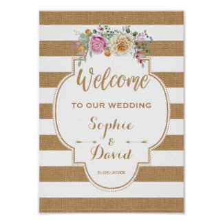 Rustic Floral Burlap Stripes Wedding WELCOME SIGN Poster