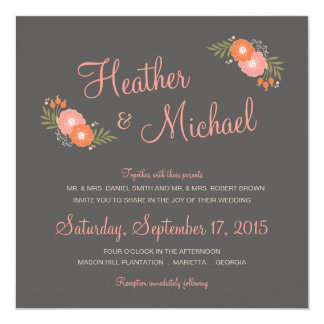Rustic Floral Casual Wedding Invitations