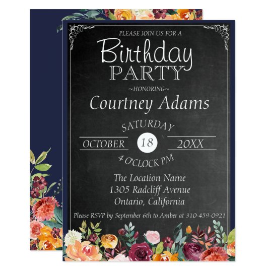 Rustic Floral Chalkboard Birthday Invitation
