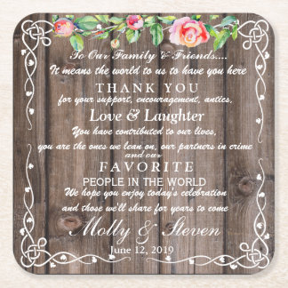 Rustic floral Country  party/wedding Thank you Square Paper Coaster