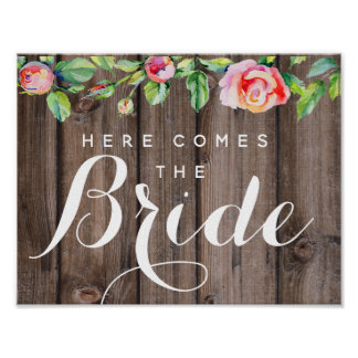 Rustic floral Country wedding here comes the bride Poster