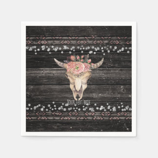 Rustic Floral Cow Skull Boho Chic Country Glam Disposable Napkins