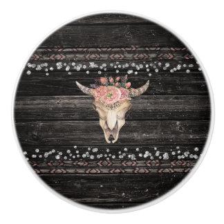 Rustic Floral Cow Skull Boho Chic Glam Silver Wood Ceramic Knob