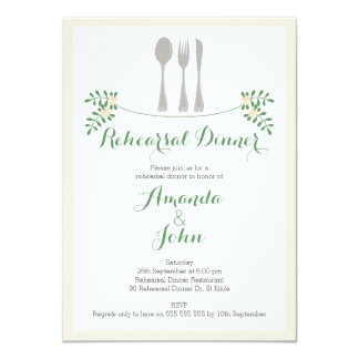 Rustic Floral Cutlery Rehearsal Dinner Invitation