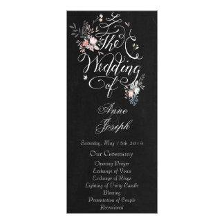 Rustic floral dark wedding program II Customized Rack Card