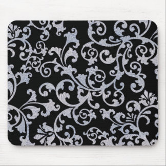 Rustic Floral Design Mouse Pad - Black/Grey