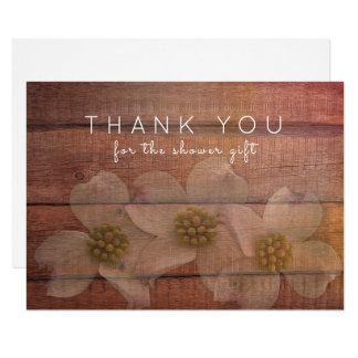 Rustic Floral Dogwood Thank You Blank Notes Card